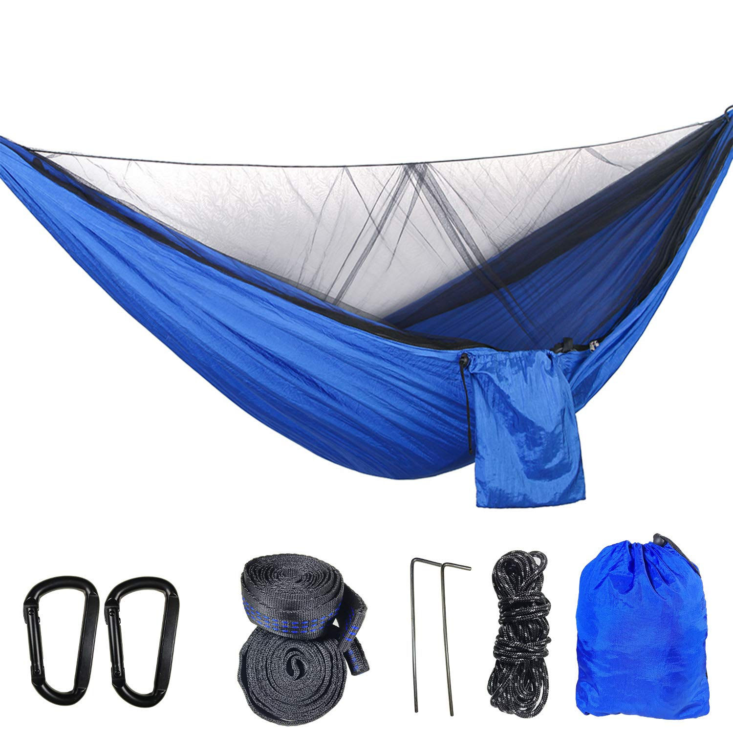 Camping Hammock,Lightweight Parachute Nylon Hammock, Suitable for Indoor, Outdoor, Hiking, Camping, Backyard, Beach, Backpacking (Blue)