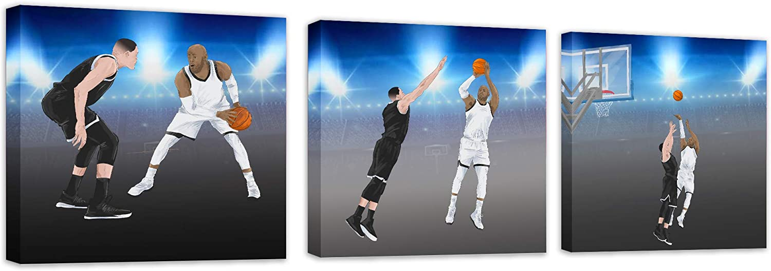 """Basketball Canvas Wall Art Sports Décor Jump Shot for Bedroom Living Room Bathroom Kitchen Office Boys Teen Kids Baby Nursery 12""""x12"""" 3 Piece Home Decorations Artwork Pictures Prints Poster Painting"""
