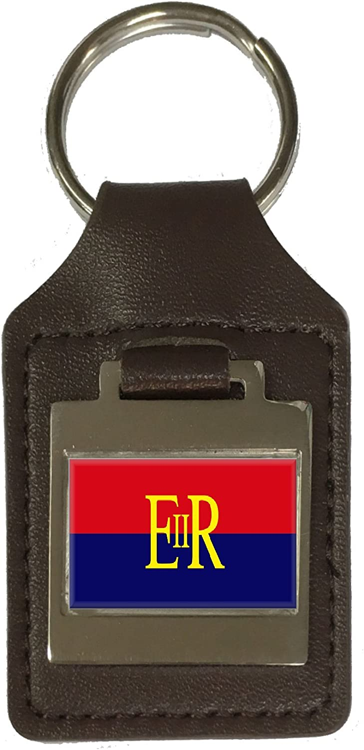 Leather Keyring Engraved Military Police Military England Flag