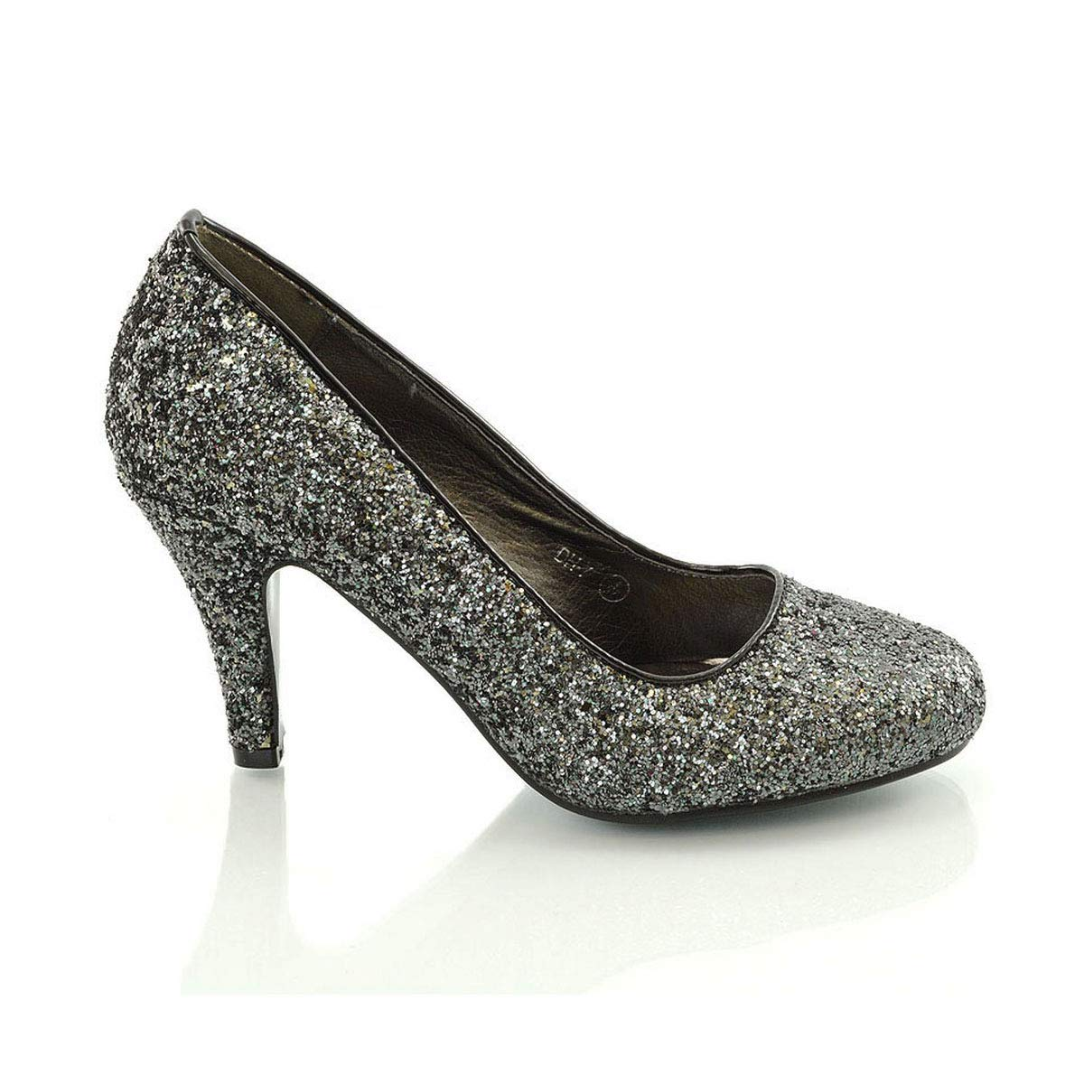 ESSEX GLAM Womens Bridal wedding Low Heel Sparkly Prom Party Court Shoes