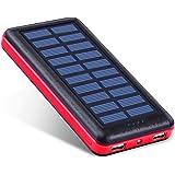 Antun 超大容量22400mAh モバイルバッテリー ソーラーチャージャー ソーラーバッテリー 2USB出力ポート太陽光で充電 おしゃれなデザイン 地震/災害時/旅行/出張などの必携品 (レッド)