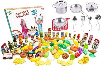 Amazon Com Kids Play Kitchen Accessories Sets Kids Pots And Pans Set With Plastic Food Kitchen Sets Kids Play Food For Kids Kitchen Utensils Set Kitchen Play Set Pretend Food Play Toys