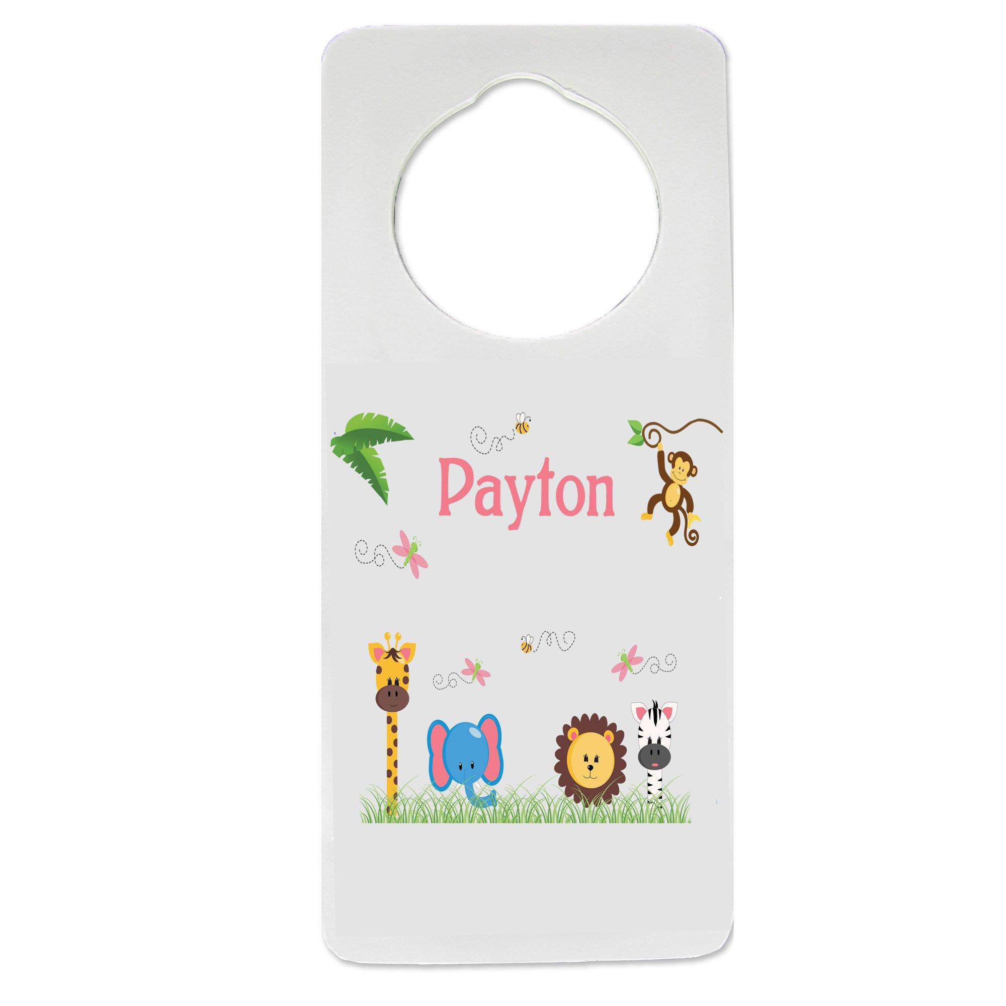 Personalized Nursery Door Hanger with Jungle_Animals Girl design