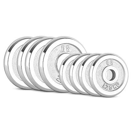 CapitalSports Kit Barra Recta con Discos de Pesas de 15 kg (4X 1.25 kg,