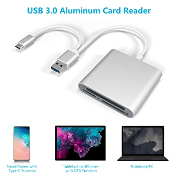 CATECK SD/Micro SD/TF Lector de Tarjetas, USB Tipo C Micro USB OTG Adaptador, Lector de Varias Tarjetas en 1, súper Velocidad, Aluminio USB 3.0 Lector ...