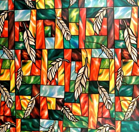 Amazoncom Feather Decorative Stained Glass Window Film Self - Stained glass window stickers amazon