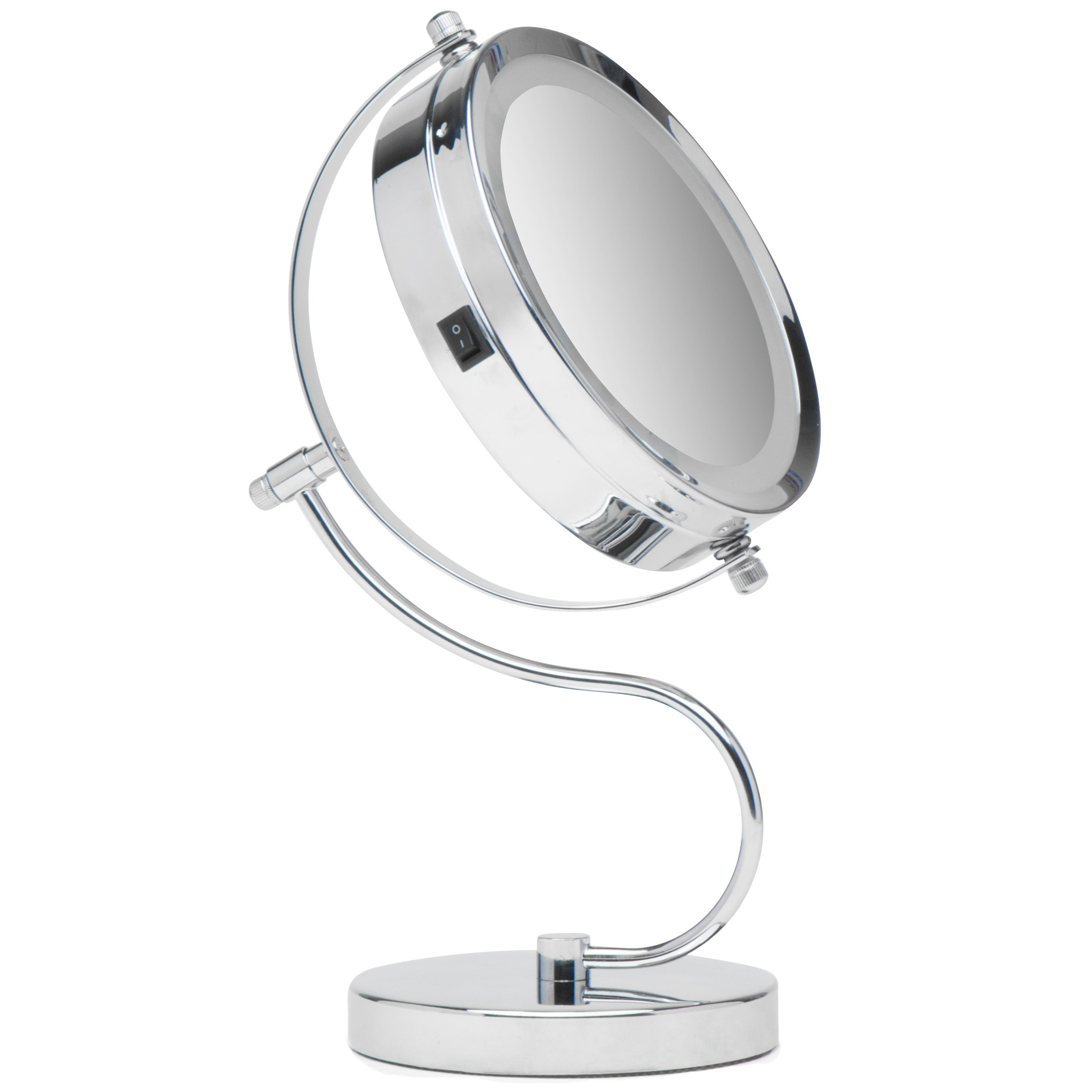 Mirrorvana Bright & Curvy Double-Sided LED Lighted Makeup Mirror w/1 x 3X Magnification for Vanity Countertop, 6-Inch