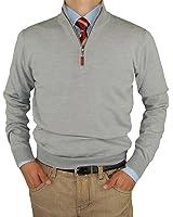 Luciano Natazzi Mens Merino Wool Quarter Zip Mock Neck Sweater Trim Fit
