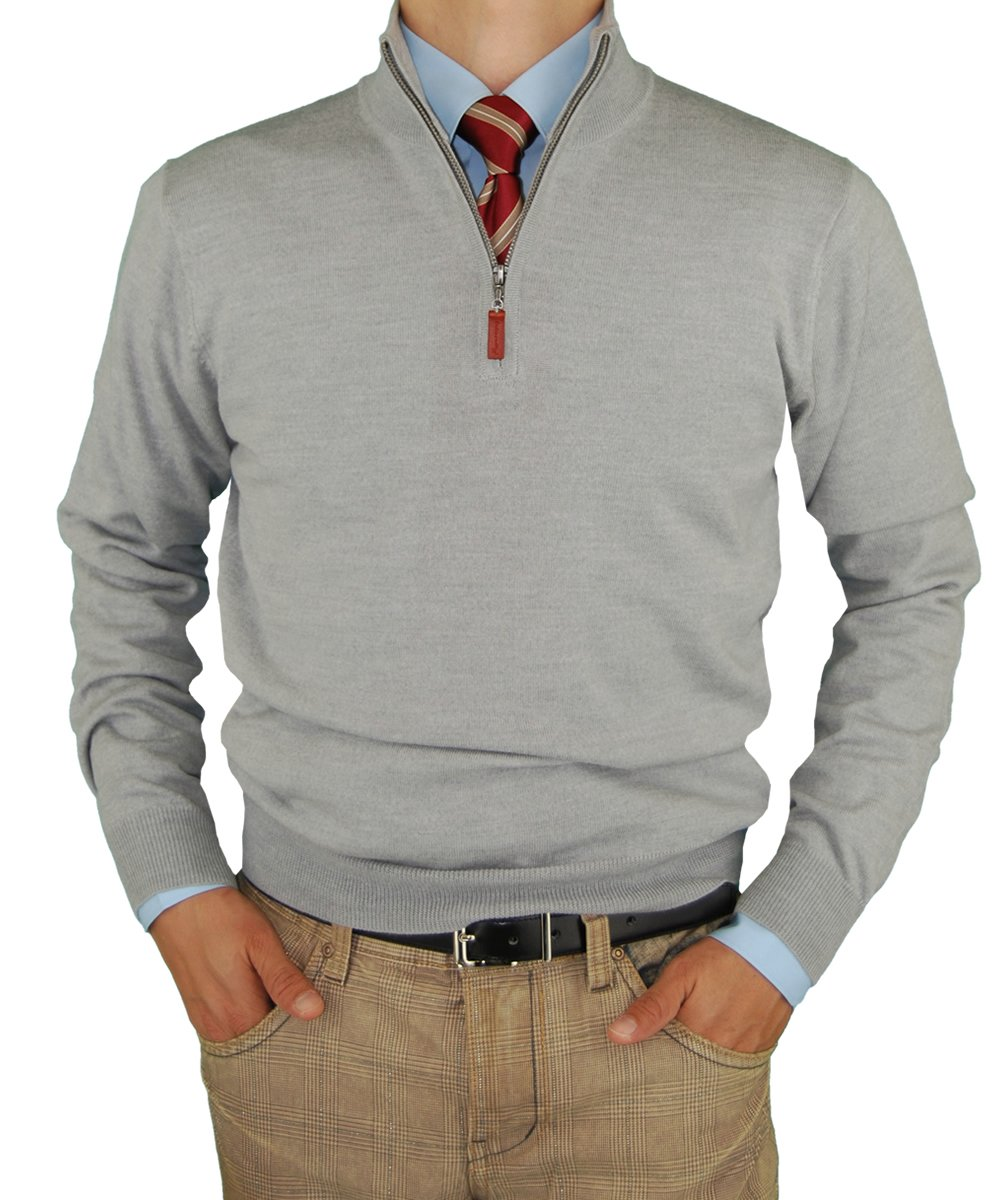 Luciano Natazzi Mens Merino Wool Quarter Zip Mock Neck Sweater Trim Fit (2X-Large, Light Gray)