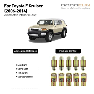 DODOFUN Deluxe Interior LED Light for 2006-2014 Toyota FJ Cruiser (10-pc Bulb 6000k): Automotive