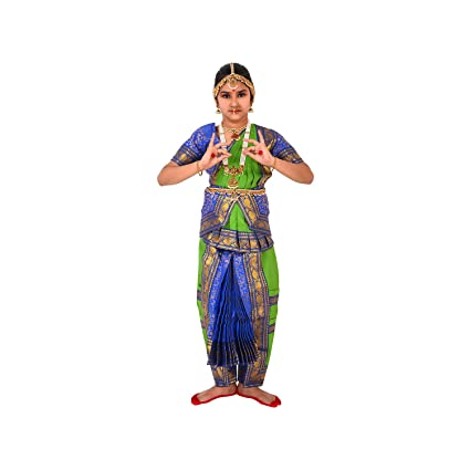 323ed1c6fa356 Buy Bharatanatyam Readymade Blue & Green China Silk Costume For Fancy Dress  Competitions/School Events/Annual Functions Online at Low Prices in India  ...