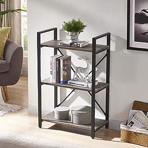 BON AUGURE 3 Shelf Industrial Bookcases Furniture,Sturdy Open Bookshelf, RusticIndoorPlant Shelf, Dark Oak