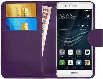 G-Shield Funda para Huawei P9 Plus, Carcasa de Cuero con Ranuras para Tarjetas, Violeta