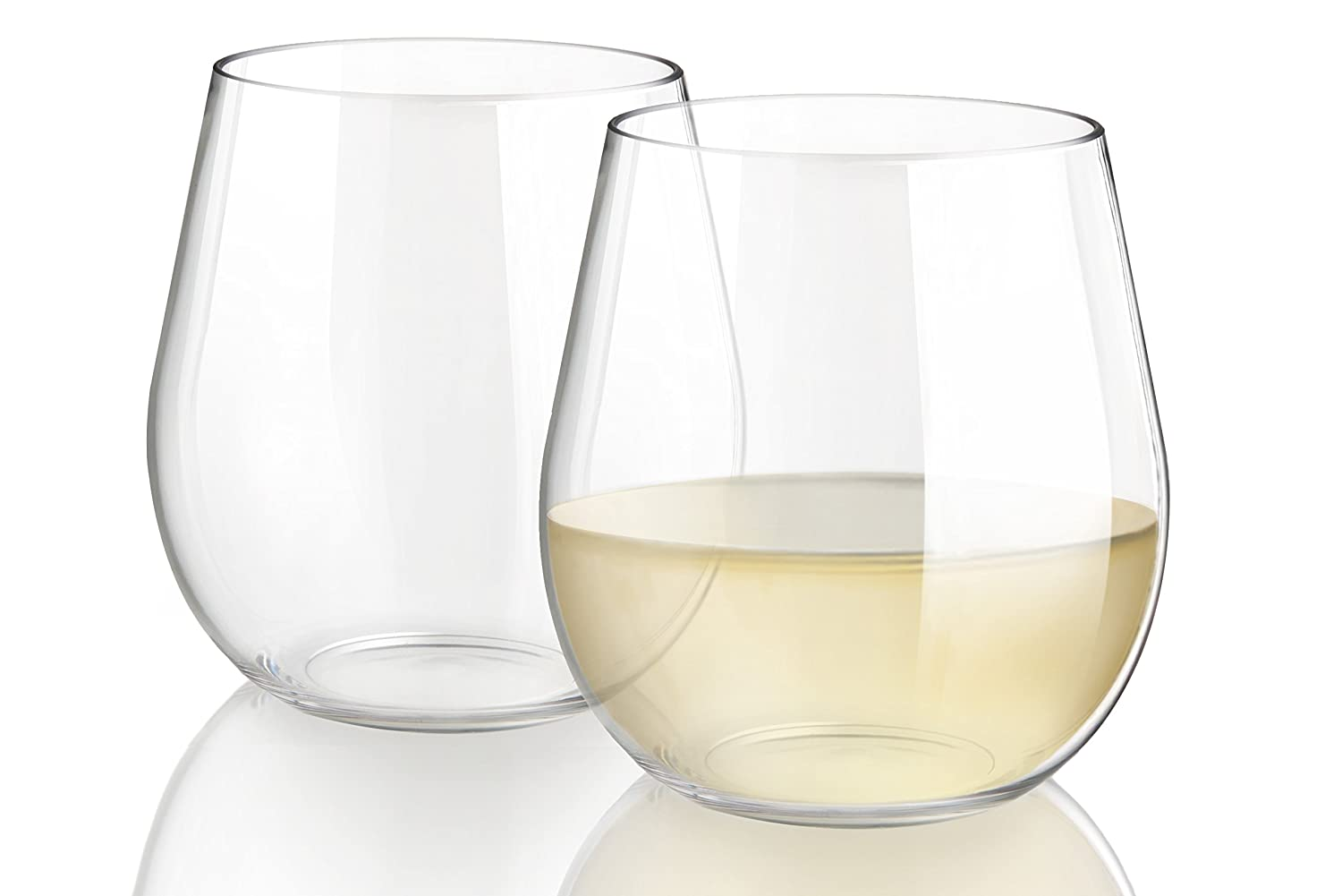Elegant Unbreakable Stemless Wine Glasses, Dishwasher Safe, 100% Tritan BPA-free Plastic, Won't Cloud or Stain, 20 Ounces Each, Heavy Base Won't Tip, Set of 4, Indoor or Outdoor, Great Hostess Wedding