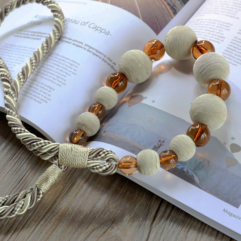 wweenuo One Pair Crystal Beaded Window Curtain Tie Back and Screw Thread Wooden Beads Curtains Tied Rope Wall Hook Tie (Beige)