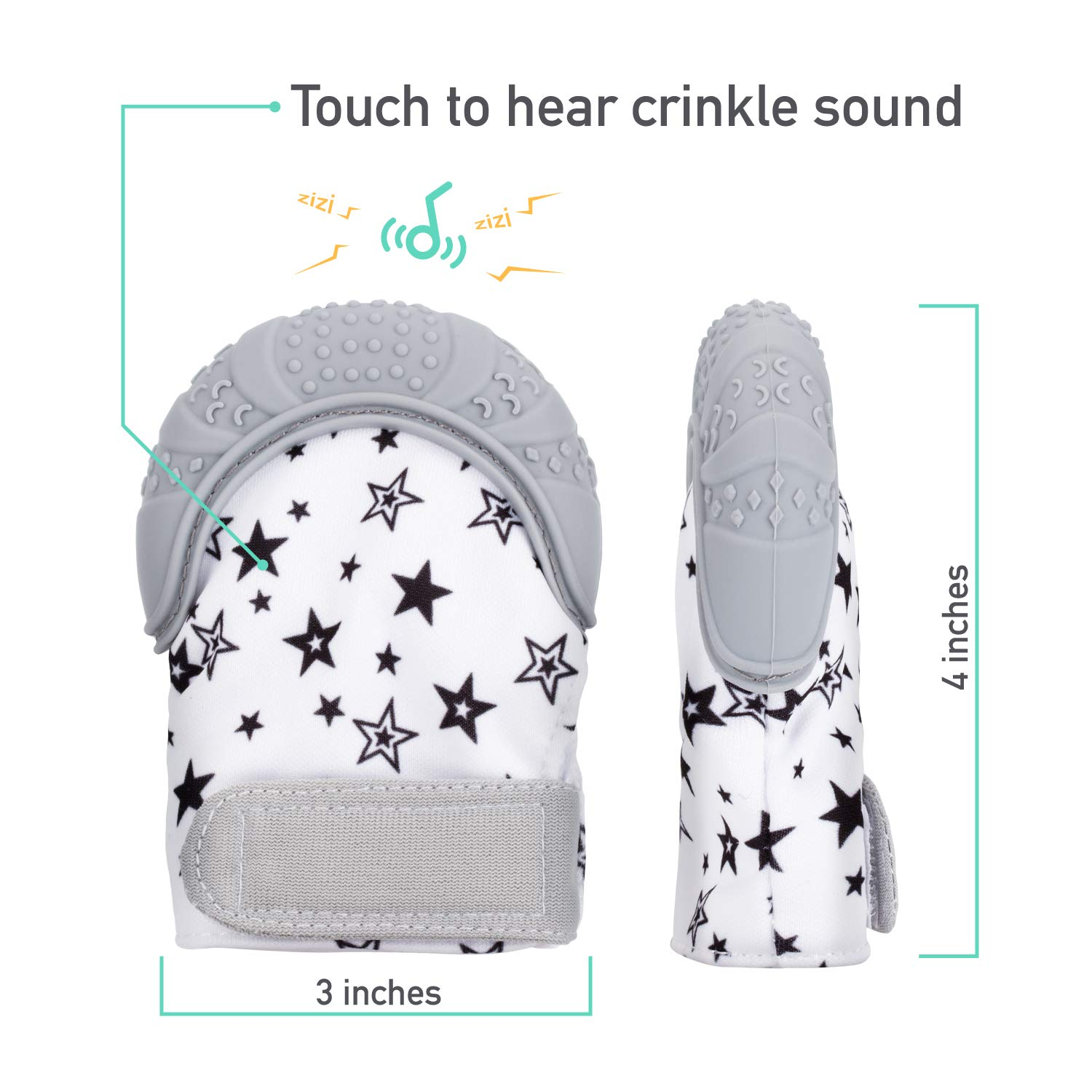Unisex for 3+ Months Baby Babebay Baby Teething Mittens Baby Teething Toys for Soothing Pain Relief Self Mitten Teething Glove with Travel Bag 2 Pack Soothing Teething Mitten with 2 Pack Baby Toothbrush