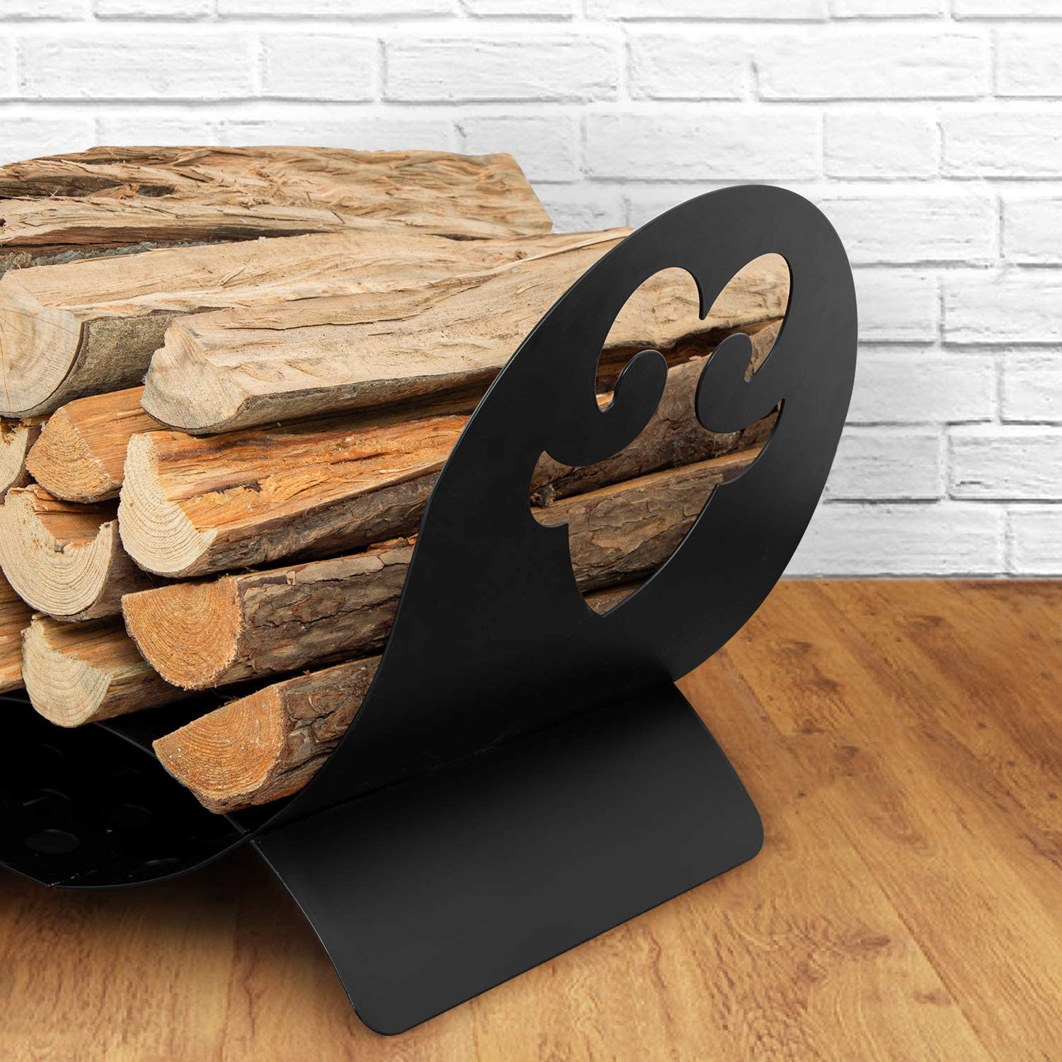 Amagabeli Fireplace Log Holder Firewood Basket Wrought Iron Fireset Carrier Wood Stove Stacking Rack Logs Bin Storage Carrier Container Tool Sets Metal Indoor Kindling Hearth Outdoor Accessories Black