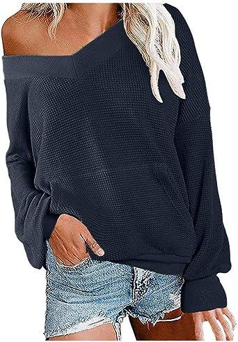 ALISIAM Mujeres Niñas Moda Sudadera Cuello en V Blusa de ...