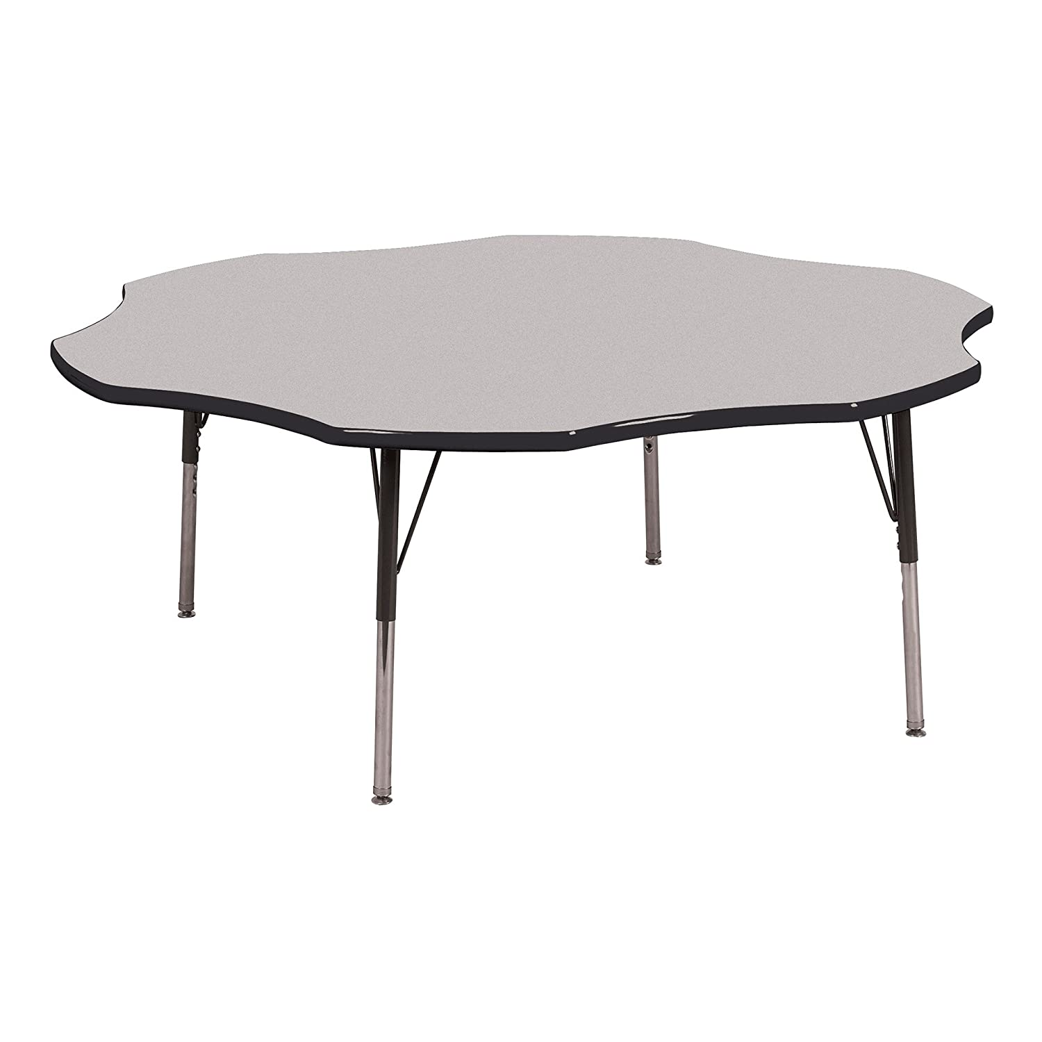 """Norwood Commercial Furniture Adjustable-Height Flower Activity Table, 60"""" Diameter, Gray/Black, NOR-RCEFLWC-GBK"""