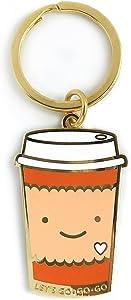Night Owl Paper Goods Coffee to Go Enamel Keychain, Gold