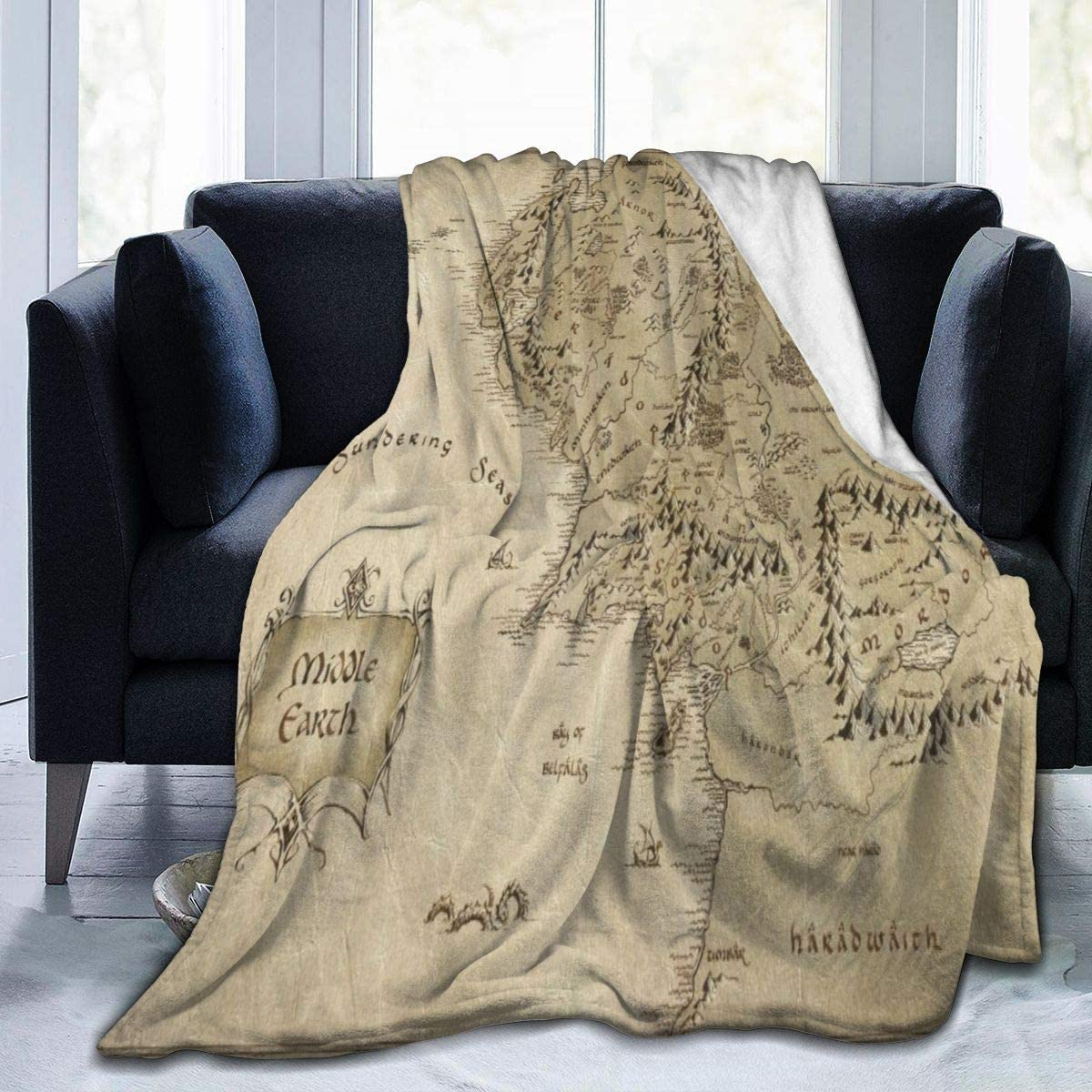 """TinaCobur Blanket Middle Earth Map Throw Blanket Easy Care Plush Blanket Ultra Comfortable Sofa Blanket Tapestry Durable Luxurious Camping Blankets Portable Fuzzy Blanket for Office 60"""" x50"""
