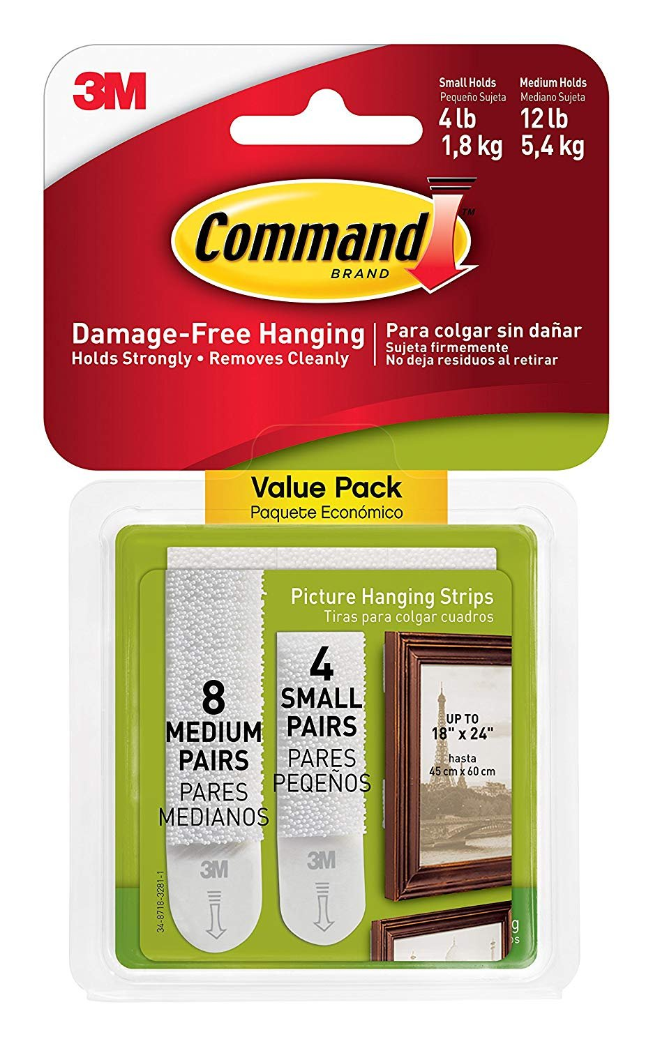 Command Picture Hanging Strips B7MS9 4 Small 8 Medium 4 Pack