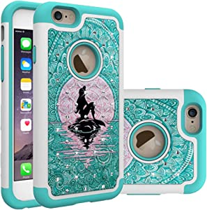 iPhone 6S Case, iPhone 6 Bling Case, Mermaid with Moon Pattern Heavy Duty Shockproof Studded Rhinestone Crystal Bling Hybrid Case Silicone Protective Armor for Apple iPhone 6S iPhone 6