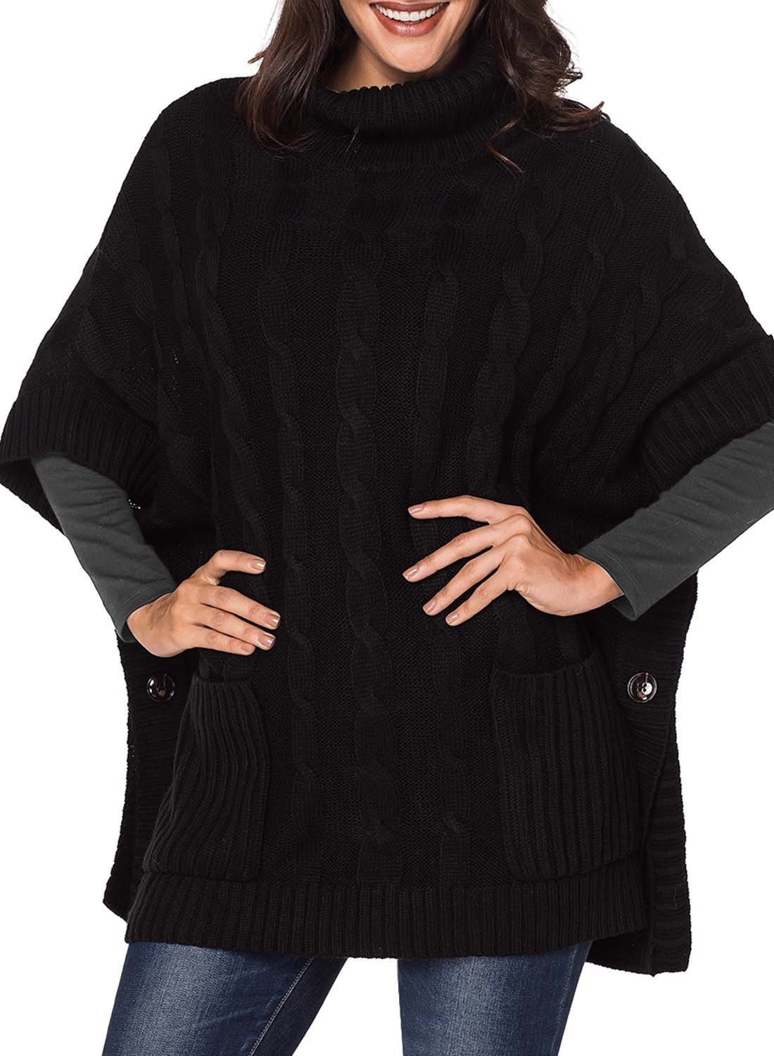 Elapsy Womens Ladies Knit Turtleneck Batwing Sleeve Casual Warm Pockets Style Tunic Poncho Pullover Sweater Oversize Black by Elapsy (Image #4)