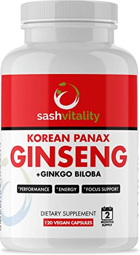 Korean Red Panax Ginseng Ginkgo Biloba – High Strength Natural Ginseng 1300mg 120 Vegan Capsules for Energy, Performance Brain Focus for Men Women – Root Extract Powder with High Ginsenosides