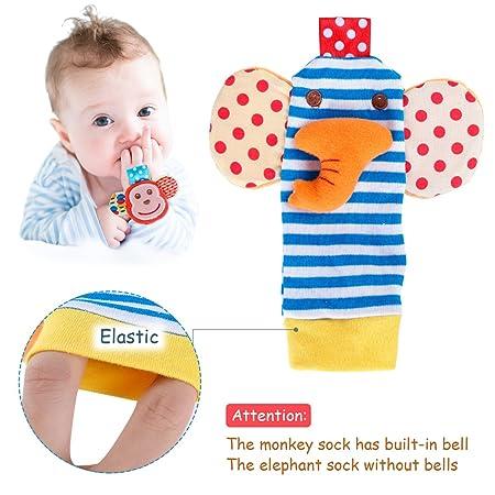 YeahiBaby 2 Paar Handgelenk Rasseln für Babys Spielzeug Tier