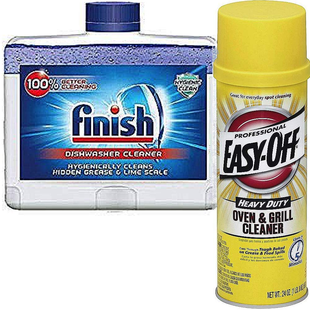 Easy Off Kitchen Tools Cleaner Bundle: Professional Oven & Grill Cleaner (24 oz) & Finish Dual Action Dishwasher Cleaner, Fresh (8.45oz)
