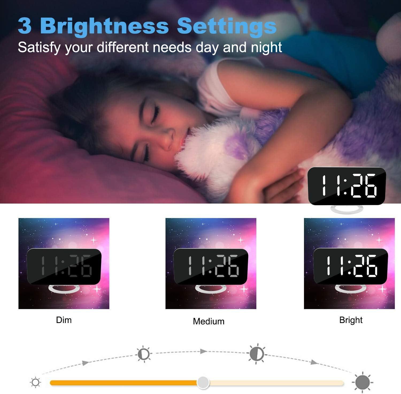 LED Wecker 6,9LED-Anzeige mit 4 Einstellbarer Helligkeit USB-Ladeanschl/üsse U-picks Wecker Digitaler schwarz Temperatur Datum f/ür Kinder//schwere Schwellen//Schlafzimmer Einfache Bedienung
