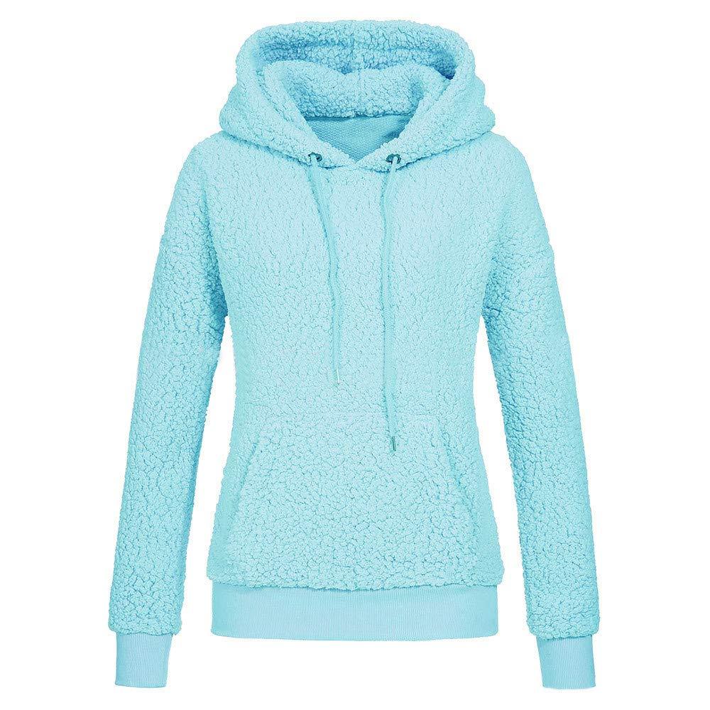 ZIYOU Damen Kapuzenbluse Herbst Winter, Lässige Rundhals Hoodie Sweatshirt Langarm Streetwear Pullover Blsuen mit Kapuze