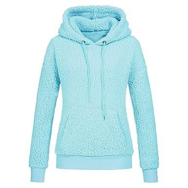 Minetom Frauen Damen Montana Mikro Fleece Jacke Kapuze Pullover Kuschelig Warm Zipper Hoodie Outwear Oberteile Weiß DE 38