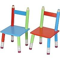 La Chaise Longue 32-E1-007 Chaises Enfant Crayons Set de 2 assorties Bois Multicolore H53 x 28 x 28 cm