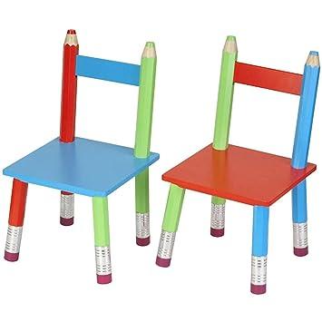 Set De 2 Chaises Assorties Pour Enfant Crayons Géants Multicolores