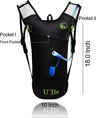 U Be Hydration Pack Water Backpack – Running Hiking Cycling Mountain Biking Camelback for Kids Women and Men with Insulated Bottle Pocket and 2l Water Bladder