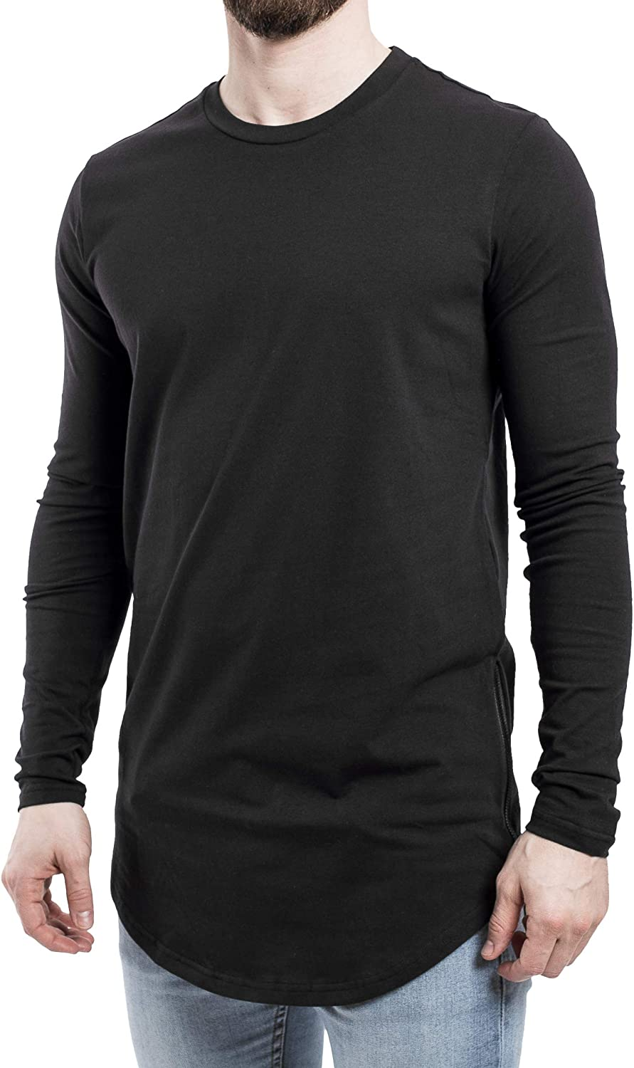 Blackskies Oversized Longline Longsleeve T-Shirt Mens Long-Sleeved Elongated Curved Tee with Side Zipper S M L XL