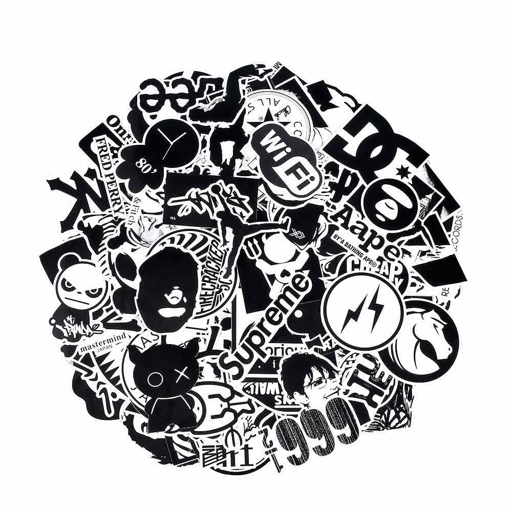 Laptop Stickers [120pcs], Toufftek [Black & White] Vinyl Sticker Graffiti Decal Perfect to Laptops, Skateboards, Luggage, Cars, Bumpers, Bikes, Motorcycle, Helmet, Window, Guitar, Snowboard