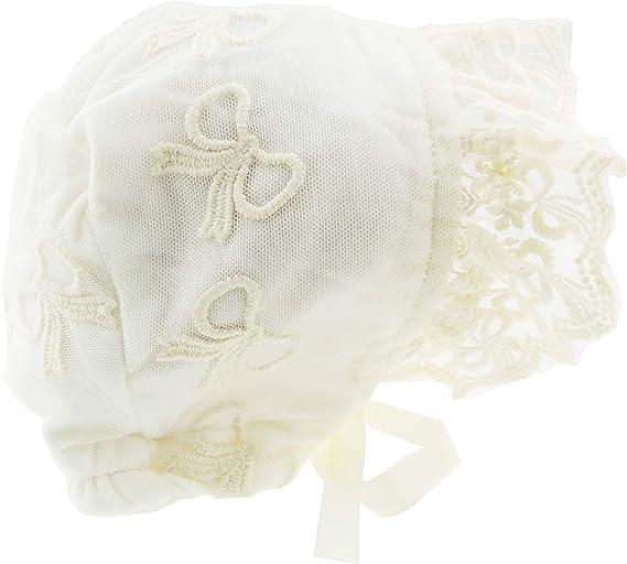 Bellissimo cappello da bambina ricamato con frange in pizzo e fiocco foderato per battesimo rosa Rosa antico taglia unica