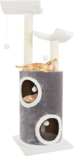 PETMAKER Cat Tree 5 Tier Double Decker Condo 4 Toys 2 Scratching Posts, 44.75 , Gray White