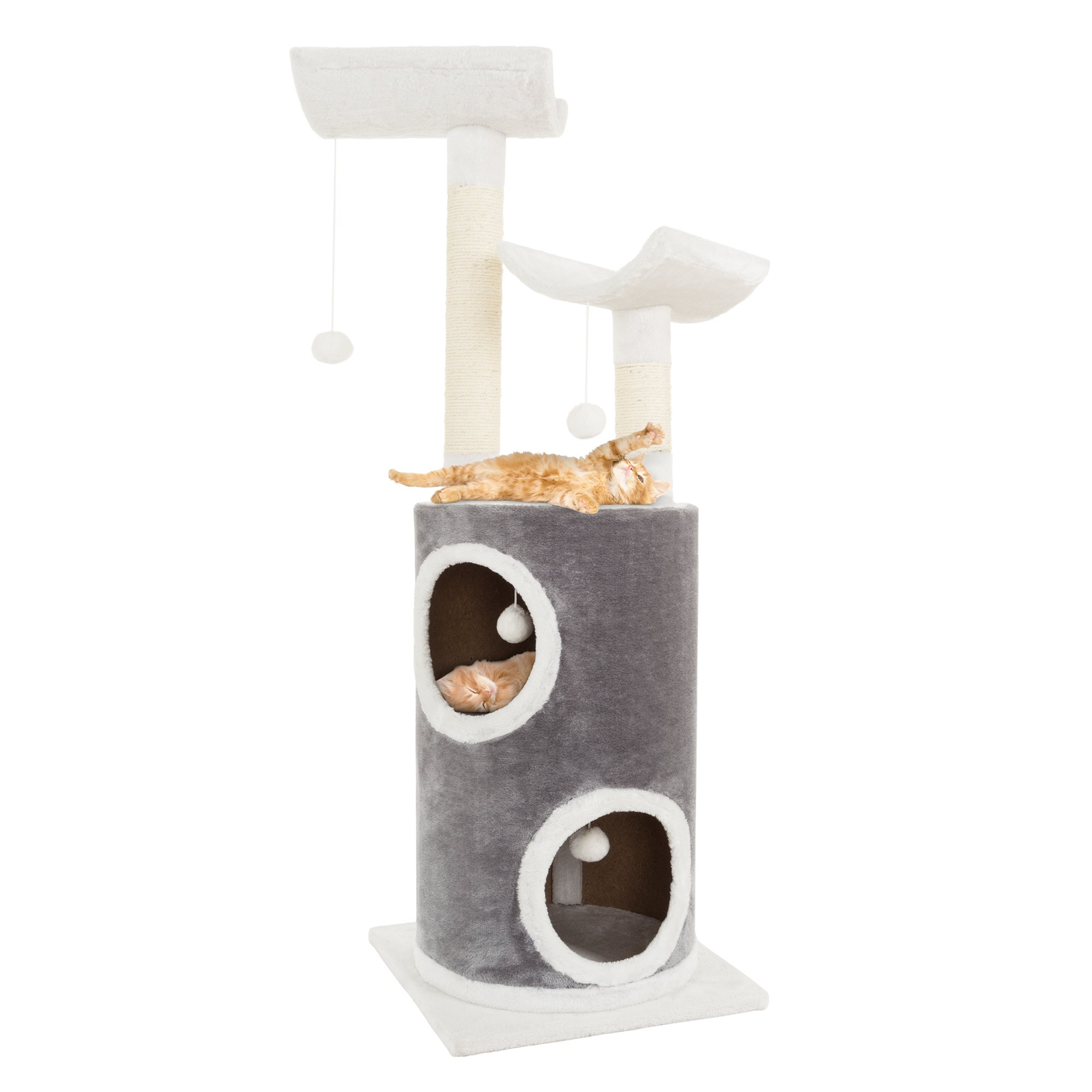 PETMAKER Cat Tree 5 Tier Double Decker Condo 4 Toys 2 Scratching Posts, 44.75'', Gray and White