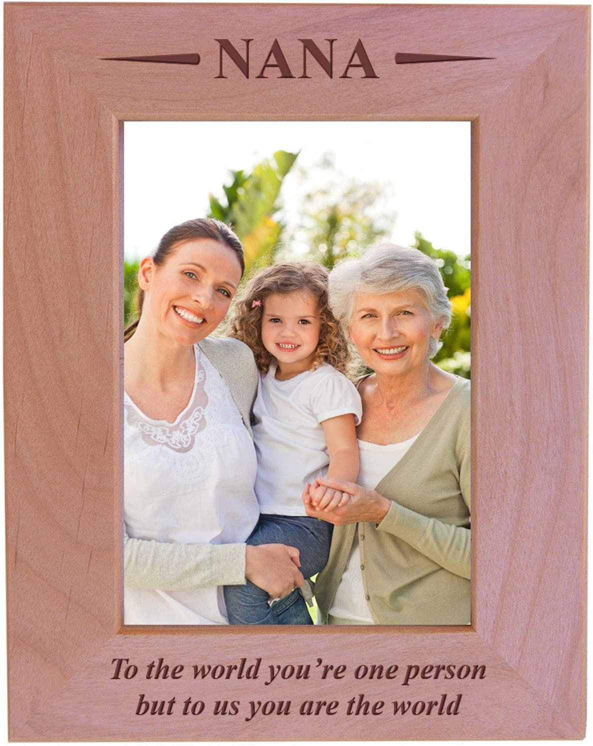 CustomGiftsNow Nana - to The World You're one Person but to us You are The World - Engraved Wood Picture Frame (5x7 Vertical)