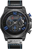 Curren Men Watch Quartz Multifunctional Military Sport Wristwatch Waterproof Leather Strap with Date Display 8287...