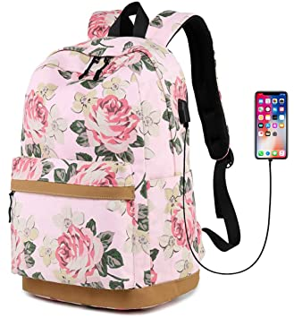 053b8c585aed3f Canvas Travel Laptop Backpacks Womens College Backpack School Bag 15 inch  USB Daypack Teen Girls Outdoor