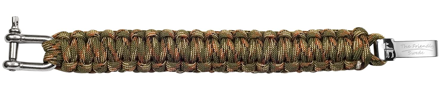 """Adjustable Size Fits 7/""""-8/"""" The Friendly Swede Paracord Survival Bracelet with Stainless Steel D Shackle Wrists PR07190-US 18-20 cm"""