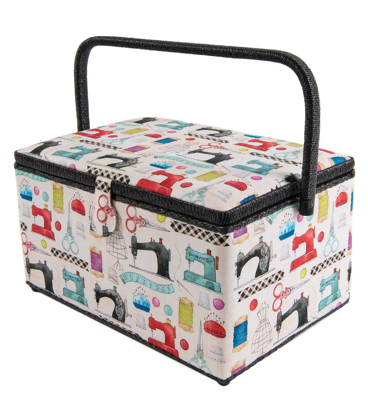 Extra Large Dritz St. Jane Sewing Basket Box (X-Large 15-1/4'' x 10-1/4'' x 8-3/4'' Black Trim Sewing Tools) by St Jane