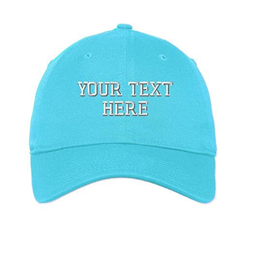 4fa708e8 Personalize Your Custom Text On Unisex Adult Flat Solid Buckle Cotton 6  Panel Unstructured Baseball Hat