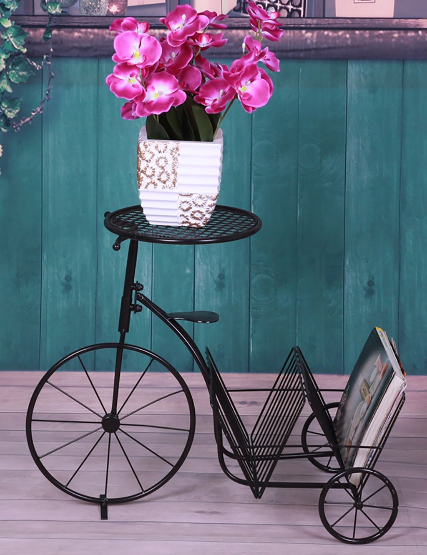 LB huajia ZHANWEI Kreative Eisen Fahrrad Blume Rack Einfache Multilayer Leiter Blume Rack Balkon Boden Pflanzer Regal Einfache Modern Living Room Indoor Flower Rack (Farbe : B)