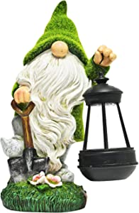 ASAWASA Flocked Solar Garden Statues and Sculptures Outdoor Decor,Garden Figurines with Solar Powered Lights for Patio,Lawn,Yard Art Decoration,Housewarming Garden Gift,7.1x4.3x11.0 Inch(Shovel)
